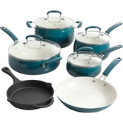 Pioneer Woman Vintage Speckle 10 pc. Cookware Set Teal
