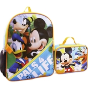 Disney Mickey & Friends 16 In. Backpack with Lunchbox