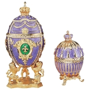 Design Toscano he Regal Purple Collection Romanov Style Enameled Eggs Set