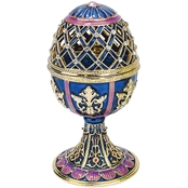 Design Toscano Jeweled Trellis Collection Romanov Style Enameled Egg, Bleue