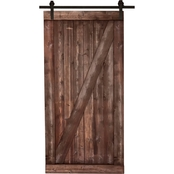 Merry Products Distressed Smoke Finish Farm Style Sliding Door