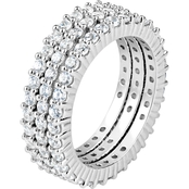 Rhodium Over Sterling Silver Lab Created White Sapphire 3 Pc. Eternity Ring Set