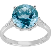 Rhodium Over Sterling Silver Blue and White Topaz Ring