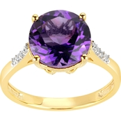 18K Gold Over Sterling Silver Amethyst and White Topaz Ring