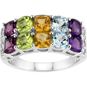 Rhodium Over Sterling Silver Double Row Multi Gemstone and White Topaz Ring