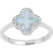 Rhodium Over Sterling Silver Lab Created Opal and Lab Created White Sapphire Ring