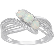 Sterling Silver Three Stone Lab Created Opal and Lab Created White Sapphire Ring