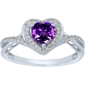 Sterling Silver Heart Shaped Amethyst and Lab Created White Sapphire Ring