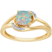 14K Gold Over Sterling Silver Lab Created Opal and Lab Created White Sapphire Ring