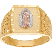 Latin Treasures 14K Tricolor Gold Guadalupe Ring, Size 10