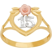 Latin Treasures 14K Tricolor Gold Quinceanera 15 Flower Ring, Size 7