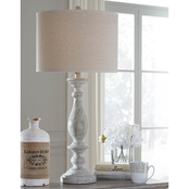 Signature Design by Ashley Bernadate Poly Table Lamp Whitewash Casual