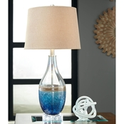 Signature Design by Ashley Johanna Glass Table Lamp Contemporary Blue/Clear