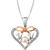 Sterling Silver and 10K Rose Gold Plated Freshwater Pearl MOM Pendant