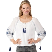 Poof Juniors Embroidered Tassel Top