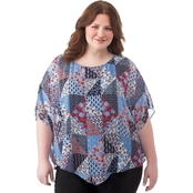 Status by Chenault Plus Size Patchwork Poncho with Tank