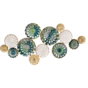 Simply Perfect Turquoise Gold Circles Metal Wall Decor