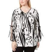 Alfani Plus Size Printed Split Sleeve Tunic