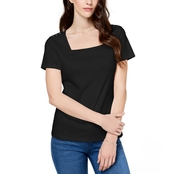 Karen Scott Petite Cotton Square Neck Button Shoulder Tee