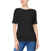 Karen Scott Petite Cotton Boatneck Top