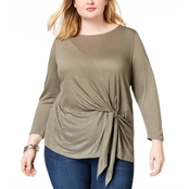 INC International Concepts Plus Size Tie Front Top