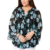 Charter Club Plus Size Bell Sleeve Pintucked Tunic