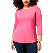 Charter Club Plus Size Cotton Boat-Neck Top