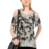 INC International Concepts Petite Embroidered Cold-Shoulder T-Shirt