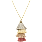 Panacea 4 Tiered Stacked Tassel Pendant Necklace, 34 +3 In.