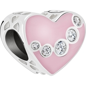 Chamilia Sterling Silver Jeweled Swag Heart Charm