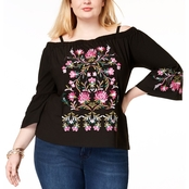 INC International Concepts Plus Size Embroidered Off The Shoulder Top