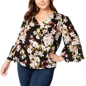 INC International Concepts Plus Size Printed Surplice Top