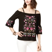 INC International Concepts Petite Cold Shoulder Embroidered Top
