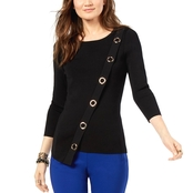 INC International Concepts Petite Asymmetrical Grommet Embellished Sweater