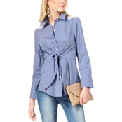 INC International Concepts Petite Tie Front Lace Inset Shirt