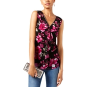 INC International Concepts Petite Zip Trim Mesh Top