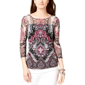 INC International Concepts Petite Printed Mesh Top