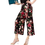 INC International Concepts Petite Floral Print Wide Leg Capris
