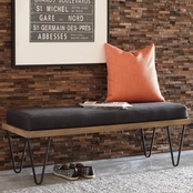 Scott Living Mid Century Modern Upholstered Bench with Hairpin Legs
