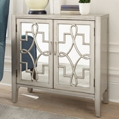 Scott Living Accent Cabinet with Mirrored Doors Accented with Lattice