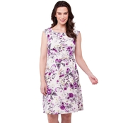 Connected Apparel Wrap Floral Cap Sleeve Dress