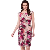 Connected Apparel Floral Mid Wrap Dress