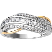 Sterling Silver and 10K Yellow Gold True Two Tone 3/8 CTW Diamond Band, Size 7