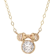 Disney 14K Yellow Gold Minnie Mouse 15 In. Cubic Zirconia Necklace