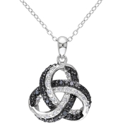 Diamore Sterling Silver 1/4 CTW Black and White Diamond Knot Pendant