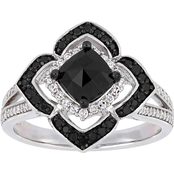 Diamore Sterling Silver 1 2/5 CTW Black and White Diamond Halo Ring