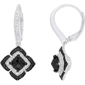 Diamore Sterling Silver 1 1/2 CTW Black and White Diamond Halo Earrings