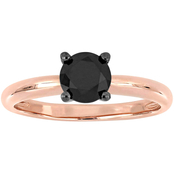 Diamore 1 CTW Black Diamond Solitaire Ring in 14k Rose Gold
