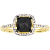 Diamore 1 CTW Black and White Diamond Halo Engagement Ring in 14k Yellow Gold