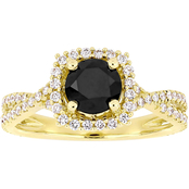 Diamore 1 1/2 CTTW Black and White Diamond Halo Engagement Ring in 14k Yellow Gold